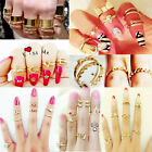 SET Knuckle Heart Bowknot Skull Plain Band Nail Midi Finger Ring Top Stacking UK