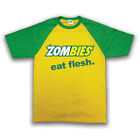 HIPSTER FUNNY SLOGAN ZOMBIES EAT FLESH RETRO BASEBALL SHIRT UNOFFICIAL ALL SIZES