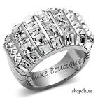 6.30 Ct Princess Cut CZ Stainless Steel Wide Band Fashion Ring Women's Size 5-10