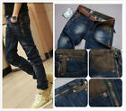 Classic Men Stylish Straight Slim Fit Trousers Casual Retro zipper Jeans Pants 0