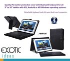 "9""- 10.1"" Tablet Leather Cover Detachable Bluetooth Keyboard for Android Win IOS"