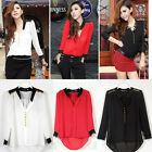 Womens Long Sleeve Stand Collar Stitching Lace Blouse Chiffon Top Shirt Button O