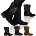 New Womens Ladies Zip Up Boots Booties Thick Sole Low Heel Stud Detail Shoe Size