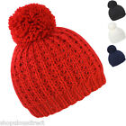 Flute Cable Knit Beanie Hat Warm Knitted Winter Pom Bobble Ski Unisex