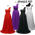 dress190 CHIFFON ONE SHOULDER LONG EVENING WEDDING BRIDESMAID PROM GOWN DRESS UK