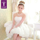 New Wedding Strapless Lace Up Zipper Ball Gown Short Bridesmaid Dress Tutu Skirt