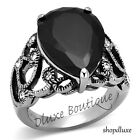 WOMEN'S LARGE PEAR SHAPE BLACK CZ SILVER STAINLESS STEEL FASHION RING SIZE 5-10