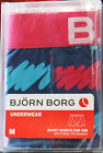 MENS BJORN BORG DESIGNER UNDERWEAR BOXER SHORTS IN NAVY WITH PINK TRIM