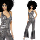 Ladies Disco Fancy Dress Costume - Sexy Silver Disco Jumpsuit Dance Diva Outfit