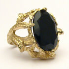 J and S Handmade 14kt Gold Black Spinel Oval Claw Ring 18x13mm 12+ct Cocktail