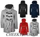 NEW WOMENS LADIES HOODED BELTED JERSEY DUFFLE TOGGLE COAT FLEECE WINTER JACKET
