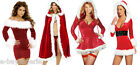 Ladies Sexy Miss Santa Christmas Outfit Claus red Party Fancy Dress Costume