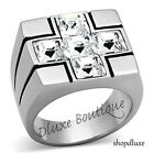 MEN'S PRINCESS CUT SIMULATED DIAMOND SILVER STAINLESS STEEL CROSS RING SIZE 8-13