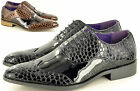 Mens Crocodile Skin Pattern Pointed Toe Winkle Picker Fancy Dress Lace up Shoes