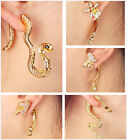 ear wrap stud earring statement crystal rhinestone gold piercing cuff single