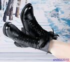 Women Genuine Leather Ankle Boot Motorcycle Short Boot Martin Boots Shoes GQ15