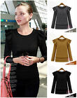 Hot Womens Korean Ladies Crew Neck Slim Fitted Pullover Sweatshirt Top Outerwear