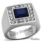 MEN'S EMERALD CUT DARK BLUE MONTANA & AAA CZ STAINLESS STEEL RING SIZE 8-13