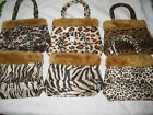 Adorable Fun Wild Animal Print Mini Purse Faux Fur Top Furry