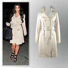 New black beige knee-length belted trench coat