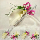 WEDDING FLOWERS BUTTONHOLE SILK SINGLE FOAM CALLA LILY LADIES ASSORT COLOUR BOW
