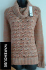 New Ladies WAREHOUSE Knit Cowl Jumper Cardigan Womans Top 8 10 12 14 16 18 20