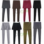 Women's Skirt Leggings Footless Cotton Pleated Tights Long Pants Stretch S M L