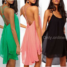 Womens Sexy Chiffon Backless Sling Strap Clubwear Cocktail Party Mini Dress S-XL