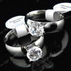 10pcs 316L Stainless Steel AA+ 8m Cubic Zirconia White Gold P Womens Mens Rings