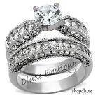 3.15 CT ROUND CUT CZ SILVER STAINLESS STEEL WEDDING RING SET WOMEN'S SIZE 5-10