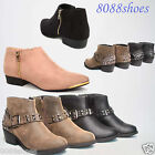 Women's Stylish Zip Up Buckle Low Heel Ankle Bootie Shoes All Size 5.5 - 10 NEW