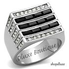 MEN'S BLACK & CLEAR SIMULATED DIAMOND SILVER STAINLESS STEEL RING SIZE 8-13