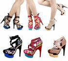 "3 Color Sexy Wedges Ties Up Stilettos 6"" Heels Womens Sandals Platforms Shoes"