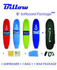 Billow 8' Soft Surfboard Package Deal, Soft Board + Bag + Wax + Fins