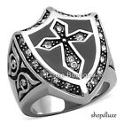 MEN'S ROUND SIMULATED DIAMOND SILVER STAINLESS STEEL CELTIC CROSS RING SIZE 8-14
