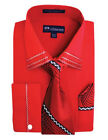 Men's French Cuff Casual Dress Shirt + Matching Tie and Hanky Set #28