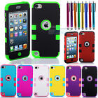 3-Piece Hybrid High Impact Case Cover For iPod Touch 5 5th Generation + Stylus