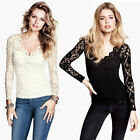 Womens European Fashion V Neck Hollow Lace Long Sleeve Shirt Blouse B3843ms