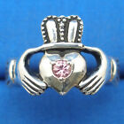 Claddagh Ring, Natural Pink Sapphire, Hand Crafted Sterling Silver, select size