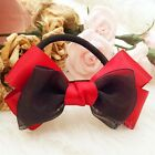 Small Size Cute Handmade Red & Black Ribbon Bow Hair Comb Clip Band Side Folder