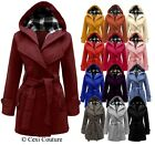 NEW LADIES BELTED BUTTON LONG COAT WOMENS HOODED JACKET PLUS SIZES 8-20