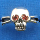 Skull & Cross Bones Ring Natural Garnet eyes, hand crafted sterling sizes 6 - 13