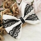 Small Handmade Pure White Ribbon Black Lace Bow Hair Comb Clip Band Side Folder