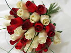 WEDDING BOUQUETS,BRIDES,BRIDESMAIDS,FLOWER GIRLS,MAID OF HONOUR,POSY IVORY RED