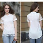 New Fashion Women Vintage Hollow Out Organza Lace Tops Shirt Fit Blouse #UK