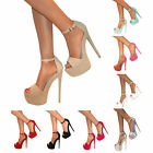 WOMENS STRAPPY PEEP TOE PLATFORM STILETTO HIGH HEEL SHOE SANDAL PUMP ZIP SIZE