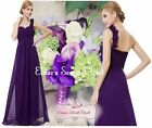 ELODIE Aubergine Purple Corsage Chiffon Prom Evening Bridesmaid Dress UK 8 - 20