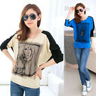 Womens Printed Batwing Dolman Long Sleeve Splice Loose Top T Shirt Blouse S-XXL