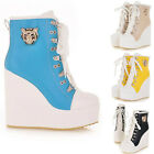 Womens Lace Up High-TOP Sneakers Shoes/Candy Colors Ladys Ankle Wedge Boots