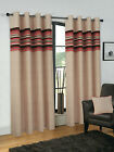 BALTIMORE HALF PANAMA EYELET READY MADE LINED CURTAINS IN 4 COLOUR PATTERNS